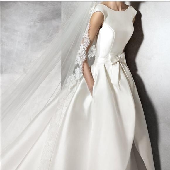 Silk Wedding Dress.Pronovias 2pc Mikado Silk Wedding Gown Tabina